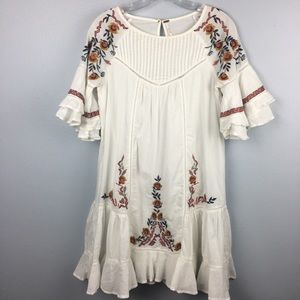 GORGEOUS FREE PEOPLE EMBROIDERED COTTON DRESS XS
